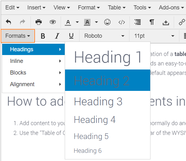 Format Article Headings