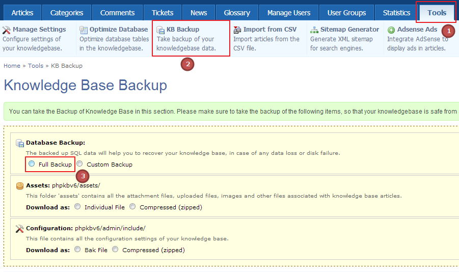 Knowledge Base Backup