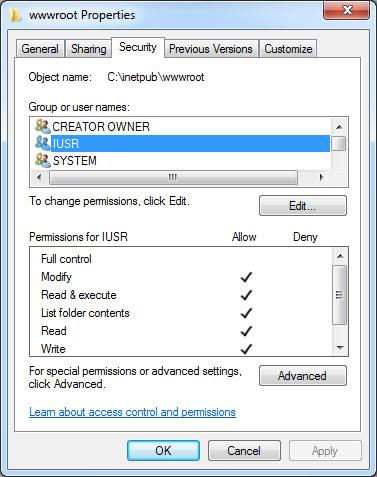 IUSR Folder Permissions