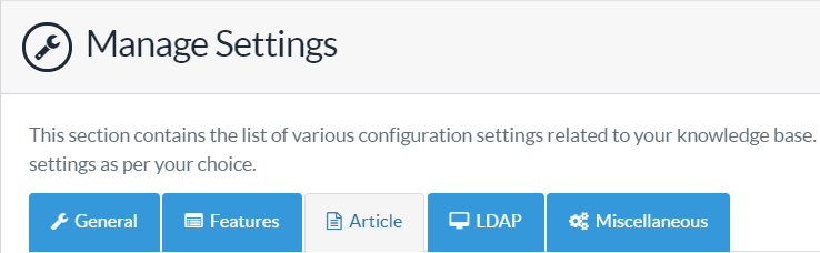 Manage Article Settings